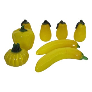Italian Yellow Glass Fruit - Set of 8