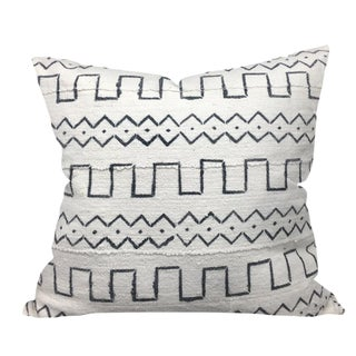 African White Mudcloth Pillow