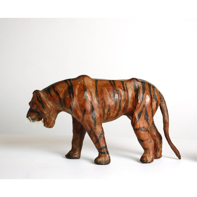 Mid Century Leather Tiger Sculpture - Image 3 of 6