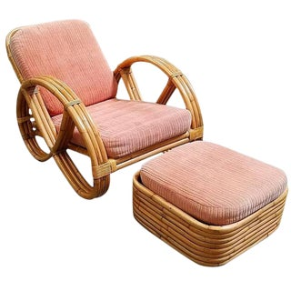 Restored Round Full Pretzel Rattan Lounge Chair & Ottoman