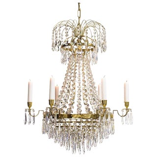 Empire 6 Polished Brass Drop Chandelier