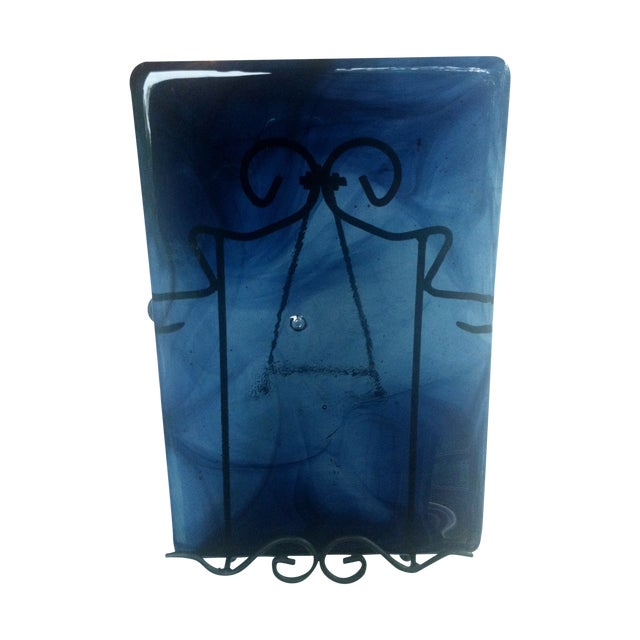 Image of Blenko Blue Art Glass Panel
