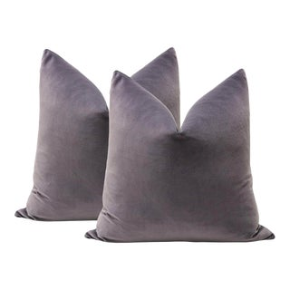 "20"" Smokey Amethyst Velvet Pillows - A Pair"