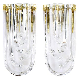 Pair of Venini Bent Crystal and Brass Sconces