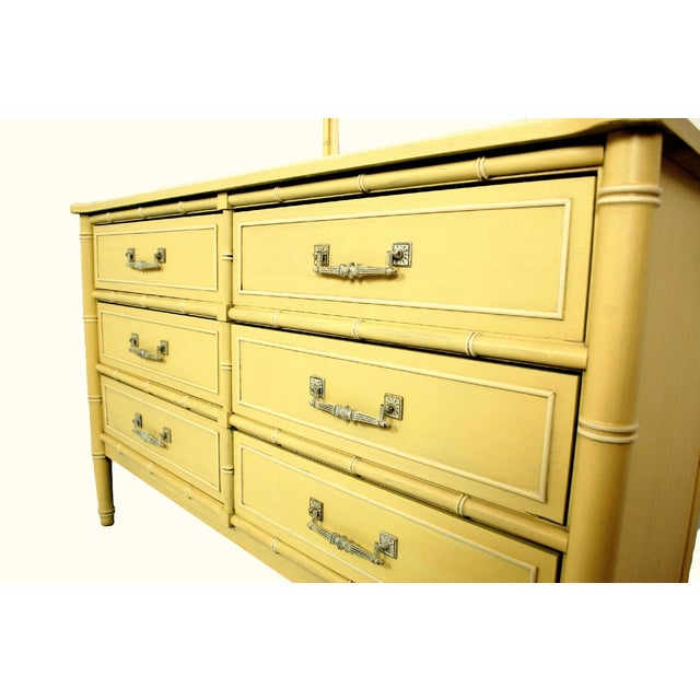 Soft Yellow Vintage Faux Bamboo Dresser W/ Mirror - Image 6 of 7