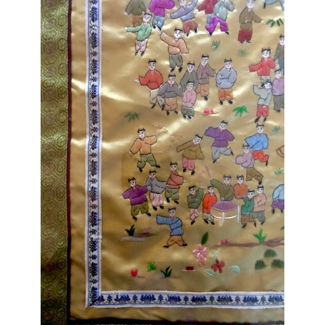 Mid-Century Chinese Silk Embroidered Tapestry - Image 5 of 5