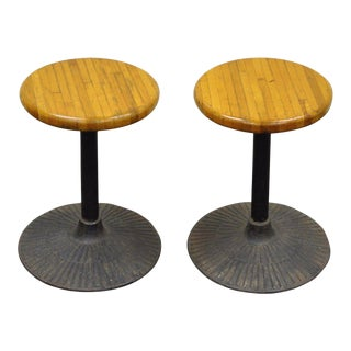 Vintage Industrial Cast Iron & Butcher Block Swivel Stools - A Pair