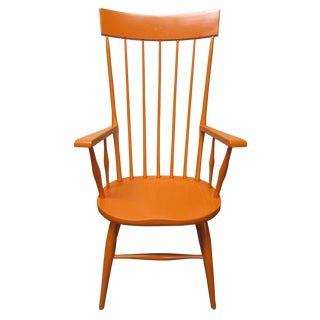 Danish Modern High Back Orange Windsor Arm Chair