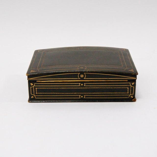 1930's Green Leather Cigarette & Cigar Humidor Tobacco Box - Image 7 of 8