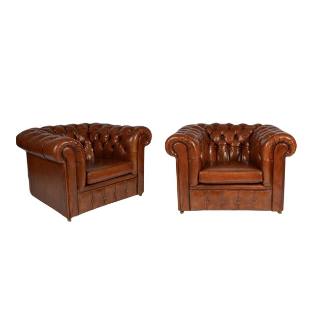 Image of Pair of Chesterfield Club Chairs