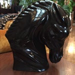 Image of Mid-Century Black Ceramic Horse Bust