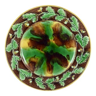 English Majolica Cheese Tray, Tortoiseshell w/ Oak Leaf & Acorn Border