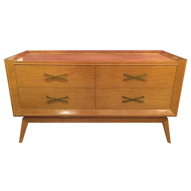 Mid-Century Modern Buffet With Brass Hardware - Image 1 of 9