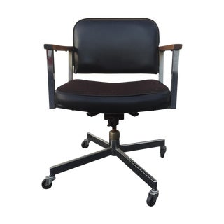 Mid-Century Modern Wheeled Desk Chair With Wood