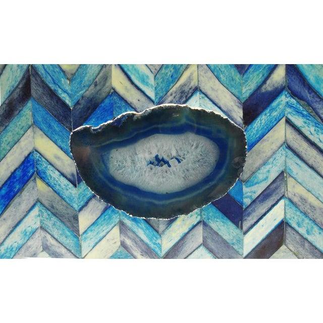 Image of Blue Bone Overlaid Box With Agate Slice