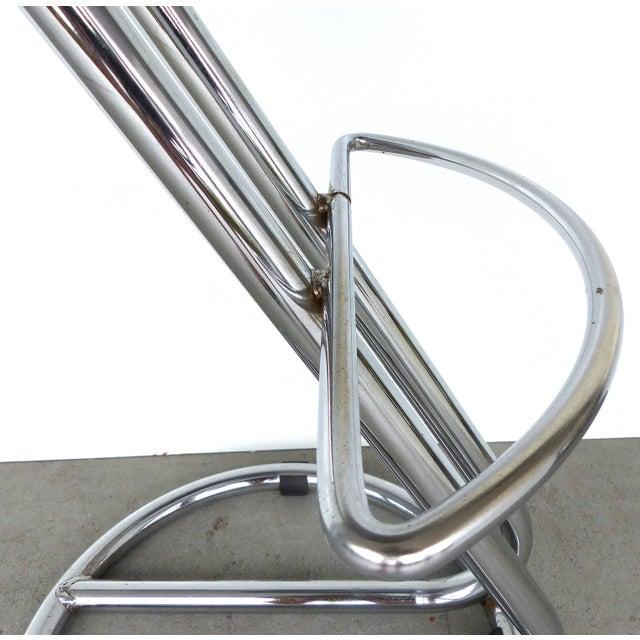 Italian Mid-Century Modern Chrome Bar Stools -- A Pair - Image 5 of 9