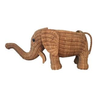 Wicker Elephant Planter
