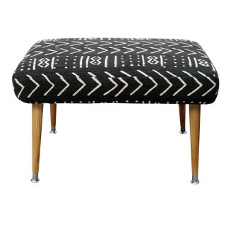 Mid Century Footstool with Mudcloth Fabric