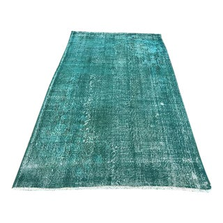Overdyed Turquoise Tribal Carpet - 5′3″ × 9′3″