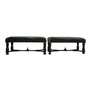 19th C. Velvet Upholstered Foot Rests - A Pair