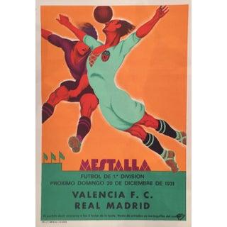 Vintage Spanish Soccer Poster, Valencia vs Real Madrid