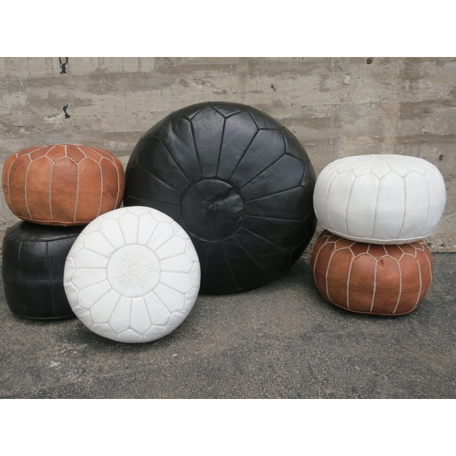 Image of Moroccan Black Leather Pouf