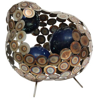 Steel and Enameled Porcelain Abstract Brutalist Table Sculpture