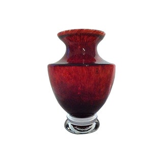 1970's Skruf Swedish Mid-Century Red Vase