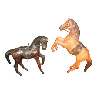 Antique 1920's Leather & Composition Horses- Set of 2