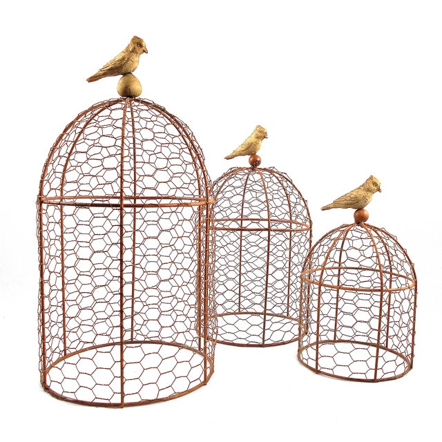 Image of Decorative Wire Garden Cloches - Set of Three