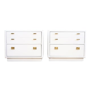 Drexel Campaign White Lacquer Nightstands - A Pair
