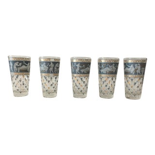 Cera Mid-Century Greek Key Highball Glasses - Set of 5