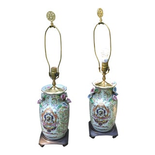 Antique Italian Capodimonte Amorial Lamps - A Pair
