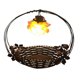 Wrought Iron Basket Table Lamp