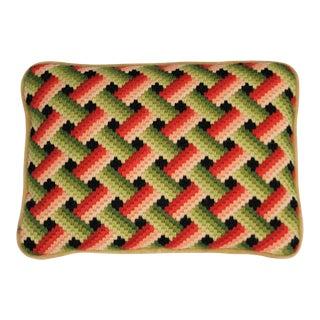 Vintage Mid-Century Bargello Needlepoint Pillow