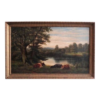Landscape with Cattle Oil on Canvas Painting