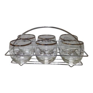 Mid-Century Modern Silver Rim Roly Poly Glasses With Caddy - Set of 6