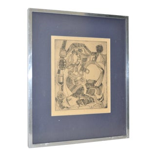 Vintage Abstract Cubism Etching