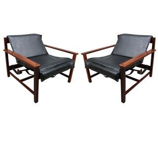 Pair of 1960s Brazilian Jacaranda Reclining Lounge Chairs