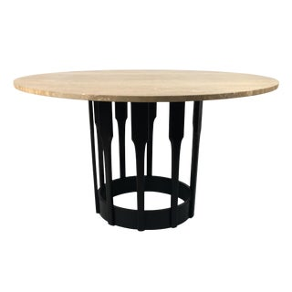 Ebonized Walnut Dining Table with Italian Travertine Top