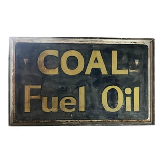 Antique Coal Fuel Sign, Hand Painted, Huge Old Advertising