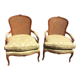 W & J Sloane Fauteuil Cane Chairs - A Pair