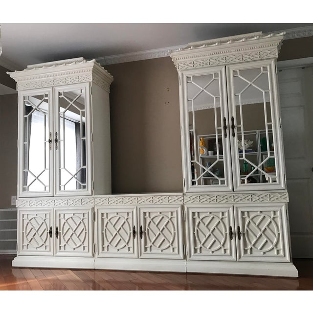Image of Vintage Chinese Chippendale Chinoiserie 5 Piece Fretwork Mirrored Cabinet