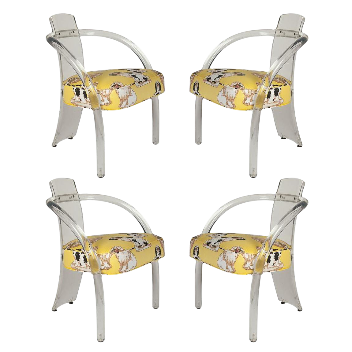 charles hollis jones lucite chairs in dorothy draper dog fabric