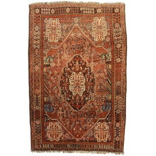 RugsinDallas Vintage Hand Knotted Wool Persian Shiraz Rug - 5′4″ × 8′