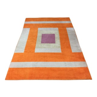 Vintage Belgian Geometric Pop Art Orange Elementa 80 Wool Rug - 6′6″ × 9′10″