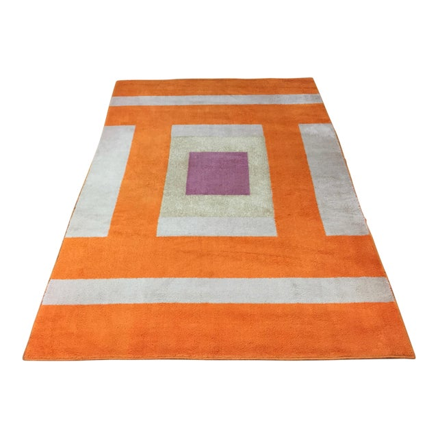 Vintage Belgian Geometric Pop Art Orange Elementa 80 Wool Rug - 6′6″ × 9′10″ - Image 1 of 8