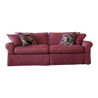 Pink Upholstered Two-Cushion Sofa
