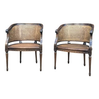 Antique Carved Cane Barrel Chairs - A Pair