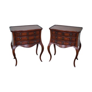 Drexel Heritage French Louis XV Style Bombe Nightstands Side Tables - a Pair